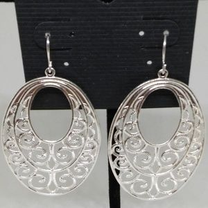 Earrings Filigree Textured Drop/Dangle Hoop 1270